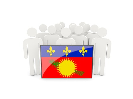 guadeloupe: People with flag of guadeloupe isolated on white