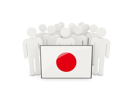 political rally: People with flag of japan isolated on white Stock Photo