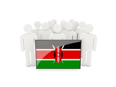kenya: People with flag of kenya isolated on white
