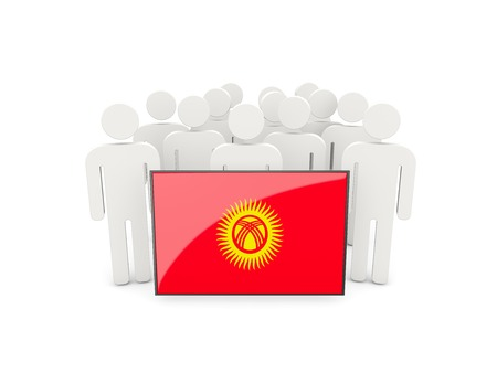 political rally: People with flag of kyrgyzstan isolated on white Stock Photo
