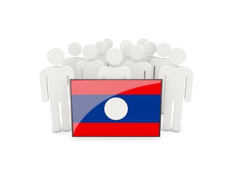 People with flag of laos isolated on white photo