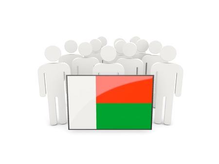 madagascar: People with flag of madagascar isolated on white