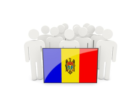 political rally: People with flag of moldova isolated on white Stock Photo
