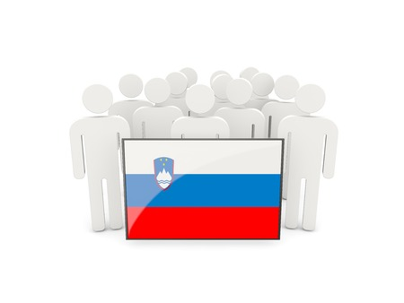 political rally: People with flag of slovenia isolated on white