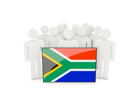 political rally: People with flag of south africa isolated on white Stock Photo