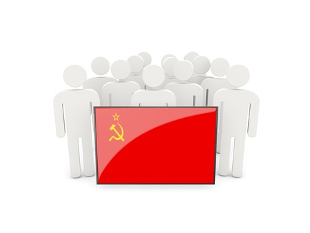 ussr: People with flag of ussr isolated on white Stock Photo