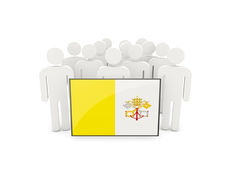 vatican city: People with flag of vatican city isolated on white
