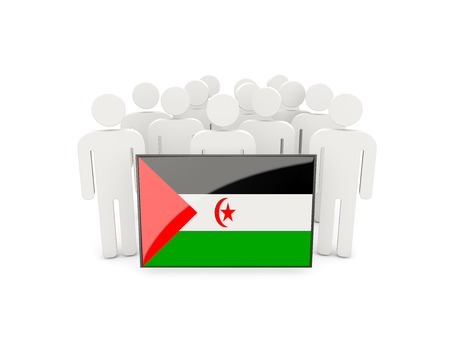 political rally: People with flag of western sahara isolated on white Stock Photo