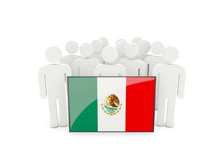 political rally: People with flag of mexico isolated on white