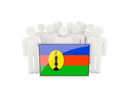 political rally: People with flag of new caledonia isolated on white