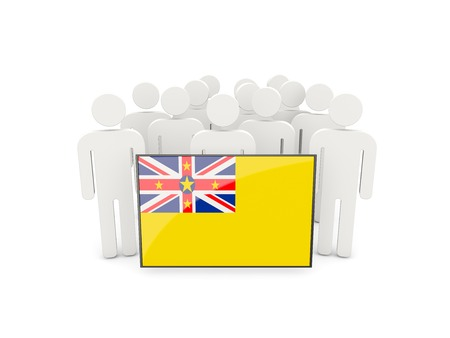 niue: People with flag of niue isolated on white Stock Photo