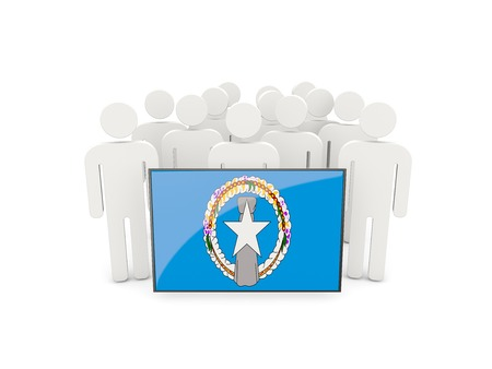 northern: People with flag of northern mariana islands isolated on white Stock Photo