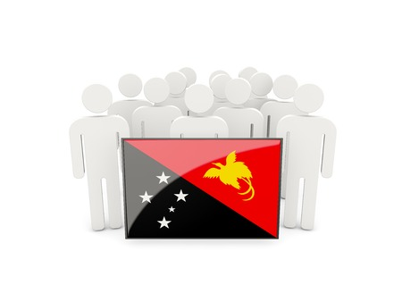 political rally: People with flag of papua new guinea isolated on white