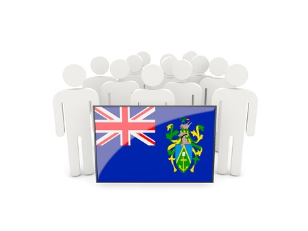pitcairn: People with flag of pitcairn islands isolated on white