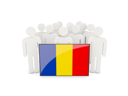 political rally: People with flag of romania isolated on white Stock Photo