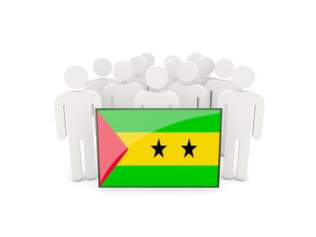tomo: Le persone con la bandiera di Sao Tome e Principe isolato su bianco