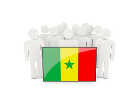 political rally: People with flag of senegal isolated on white