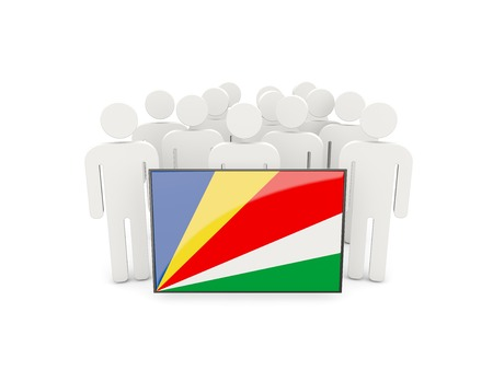 political rally: People with flag of seychelles isolated on white Stock Photo