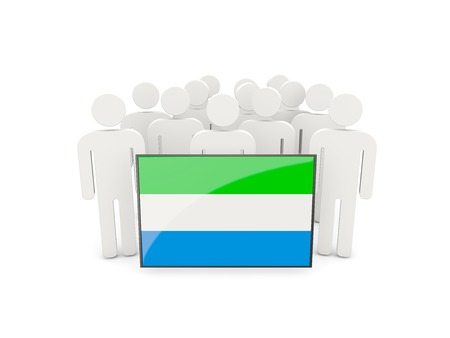 leone: People with flag of sierra leone isolated on white