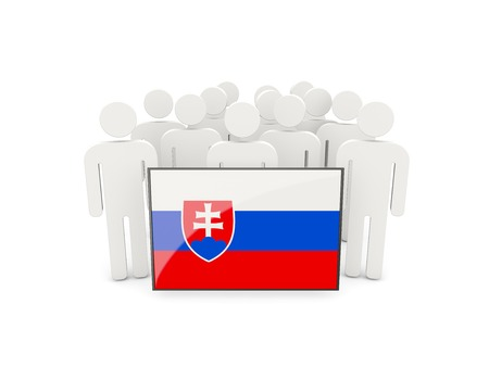 political rally: People with flag of slovakia isolated on white