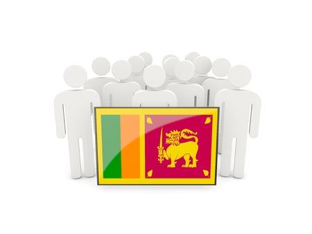 sri lanka: People with flag of sri lanka isolated on white Stock Photo