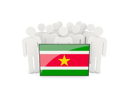 political rally: People with flag of suriname isolated on white Stock Photo