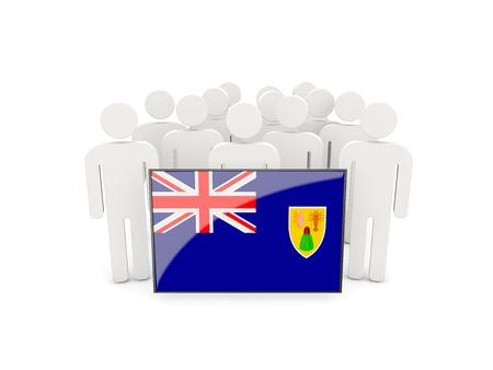 turks: Las personas con bandera de Islas Turcas y Caicos aislados en blanco