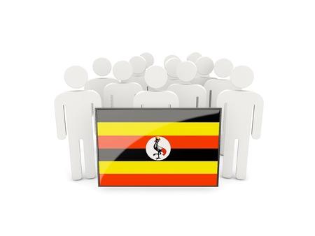 uganda: People with flag of uganda isolated on white Stock Photo