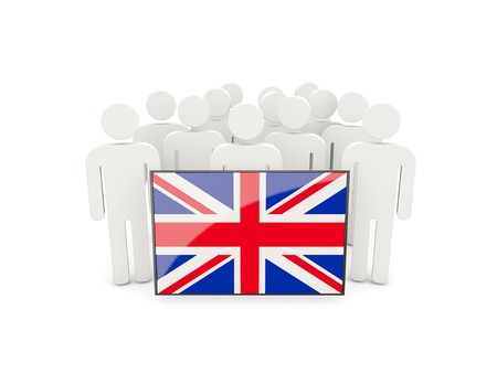 political rally: People with flag of united kingdom isolated on white