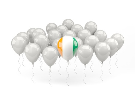cote ivoire: Air balloons with flag of cote d Ivoire isolated on white Stock Photo