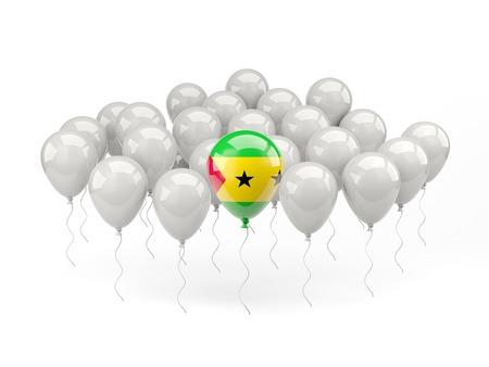 principe: Globos de aire con bandera de Santo Tomé y Príncipe aislados en blanco