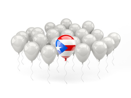puerto rico: Air balloons with flag of puerto rico isolated on white