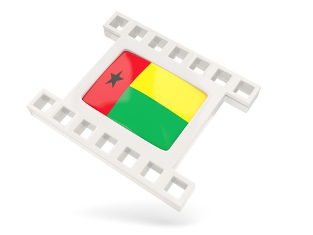 guinea bissau: Movie icon with flag of guinea bissau isolated on white