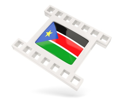 south sudan: Movie icon with flag of south sudan isolated on white Stock Photo