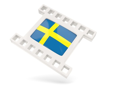 Movie icon with flag of sweden isolated on white photo