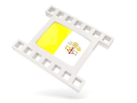 ciudad del vaticano: Icono de pel�cula con la bandera de la ciudad del vaticano aislado en blanco Foto de archivo