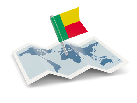 Map with flag of benin isolated on white