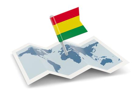mapa de bolivia: Mapa de la bandera de Bolivia aislado en blanco
