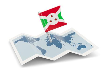 Map with flag of burundi isolated on white photo