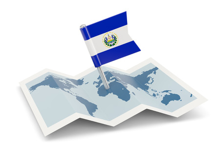 mapa de el salvador: Mapa de la bandera de El Salvador aislado en blanco Foto de archivo