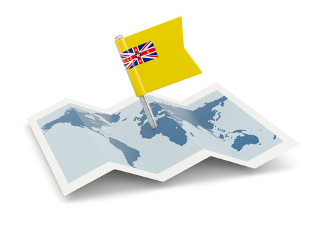 niue: Map with flag of niue isolated on white Stock Photo