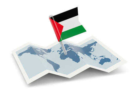palestinian: Map with flag of palestinian territory isolated on white Stock Photo