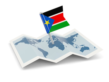 south sudan: Map with flag of south sudan isolated on white