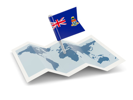 cayman islands: Map with flag of cayman islands isolated on white Stock Photo