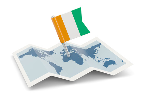 cote ivoire: Map with flag of cote d Ivoire isolated on white Stock Photo