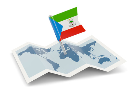equatorial guinea: Map with flag of equatorial guinea isolated on white