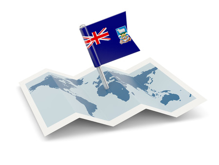 falkland: Map with flag of falkland islands isolated on white Stock Photo