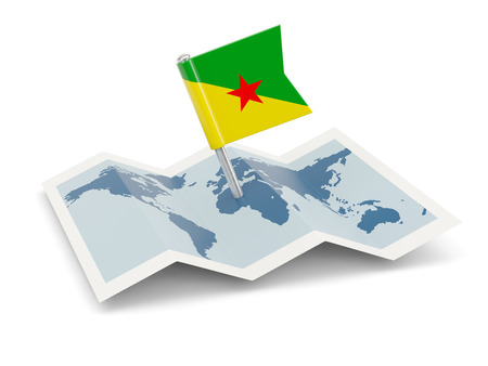 Map with flag of french guiana isolated on white photo