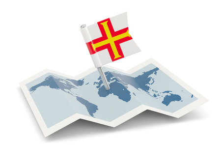 Map with flag of guernsey isolated on white photo