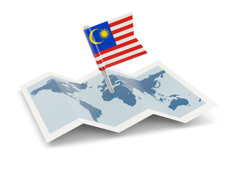 Map with flag of malaysia isolated on white